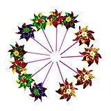 Toyvian Juego de Juguetes para Molinos de Viento pequeños Paquete de 12 molinillos de Colores Surtidos para niños y niñas de 3 años (Color Aleatorio)