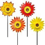 4 piezas Molinillos de viento para césped, molino de viento de girasol molinillos de flores de colores para fiestas, para el hogar, patio, jardín, decoración al aire libre
