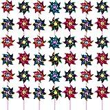 Hestya Molinillos de Arco Iris de Plástico, Molinillo de Fiesta Juego de Molinillos de Viento de Césped de DIY para Adolescentes Juguete Adornos de Jardín Fiesta Césped (50 Piezas, Multicolor A)